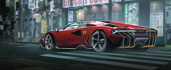 Lamborghini Countach Centenario Rendered As V12 Restomod From Heaven And Hell Autoevolution