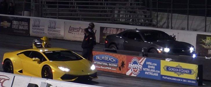 Lamborghini Huracan Drag Races Built Camaro Ss Things Get