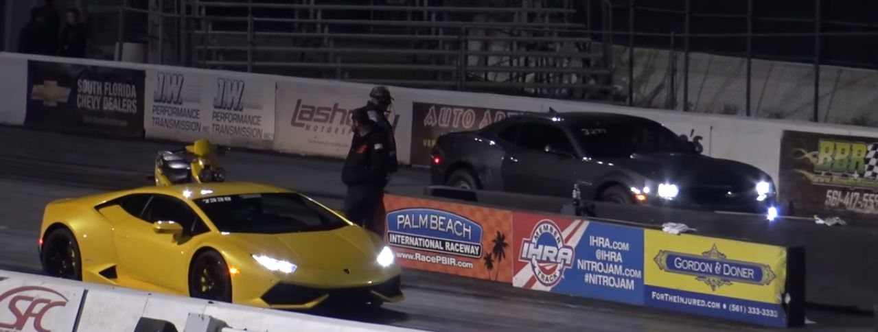 Lamborghini Huracan Drag Races Built Camaro SS, Things Get
