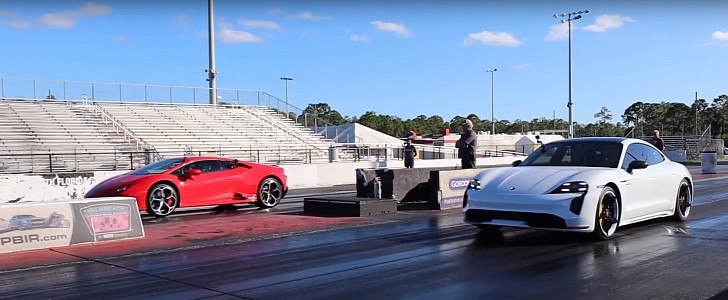 Lamborghini Huracan EVO Drag Races Porsche Taycan Turbo S on Sticky Track