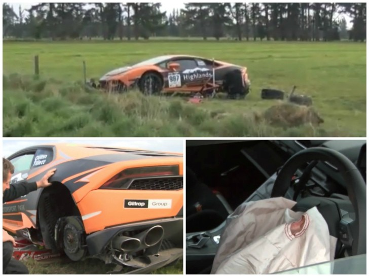 lamborghini huracan jumps off the road crashes in targa new zealand autoev. Black Bedroom Furniture Sets. Home Design Ideas
