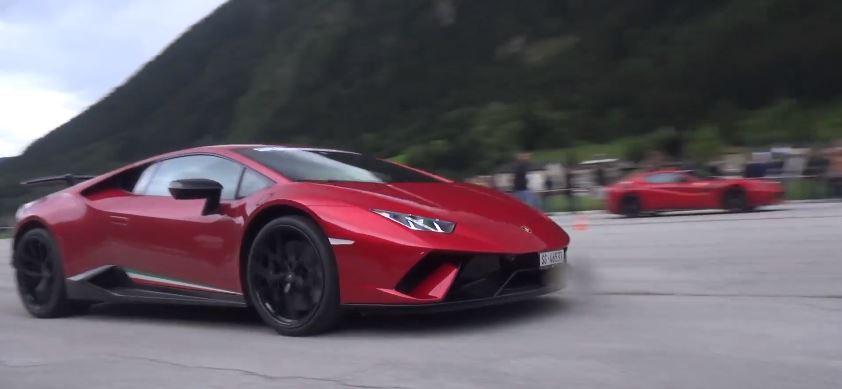 Lamborghini Huracan Performante Drag Races Ferrari F12 Tdf Shots