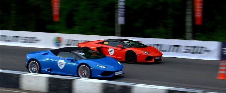 photo finish lamborghini huracan spyder vs aventador. Black Bedroom Furniture Sets. Home Design Ideas
