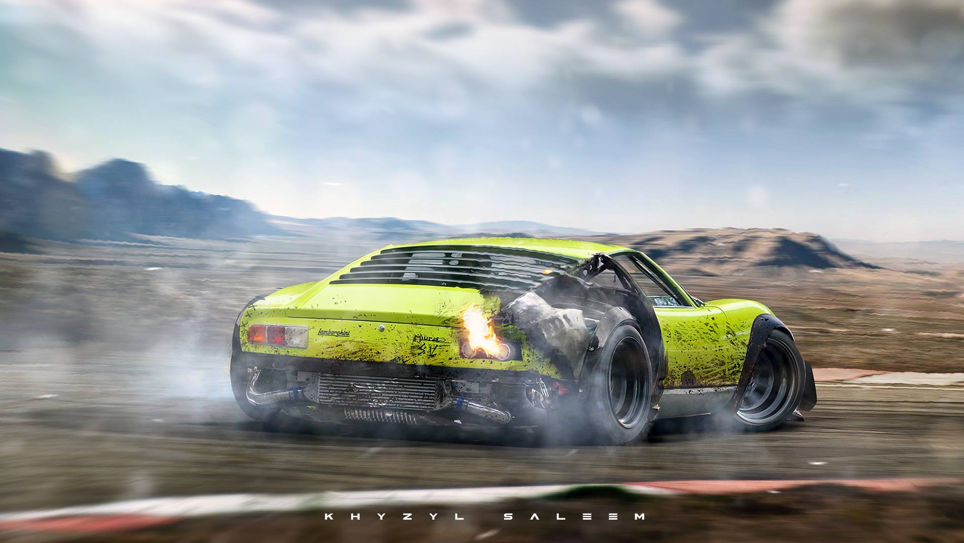 Lamborghini Miura Drifting While On Fire In Extreme Rendering