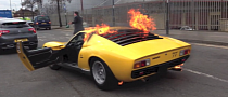Lamborghini Miura Catches Fire in London [Video]