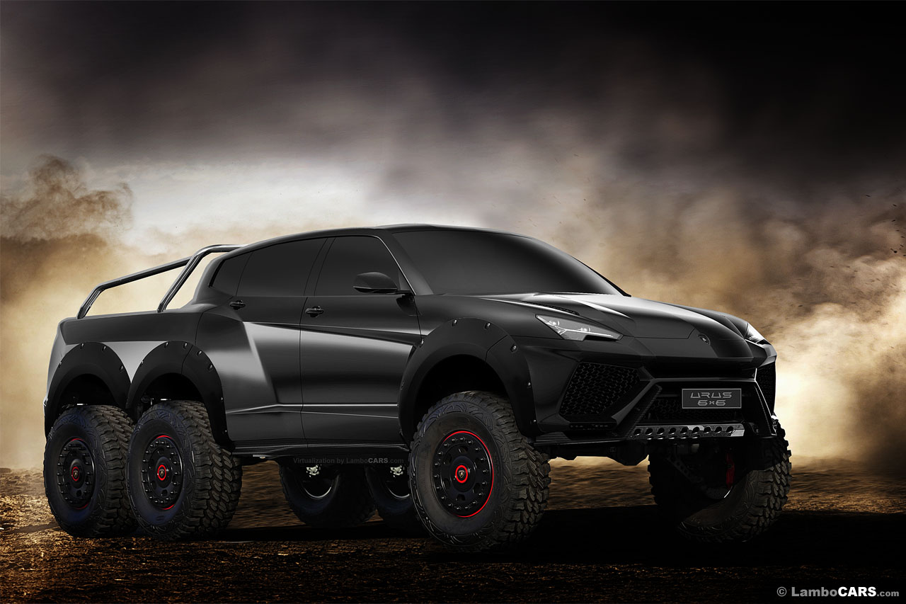 lamborghini urus 6x6 pickup and production model rendered. Black Bedroom Furniture Sets. Home Design Ideas