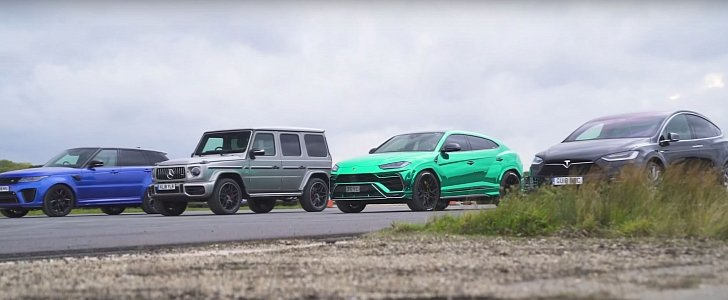 Lamborghini Urus Drag Races Tesla Model X, New Mercedes-AMG G63 and RR Sport SVR