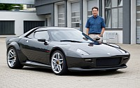 Michael Stoschek next to the 430 Scuderia-based new Stratos.