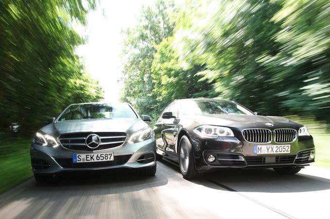 Lci bmw f10 520d vs mercedes benz e220 cdi comparison test for Capital mercedes benz bmw