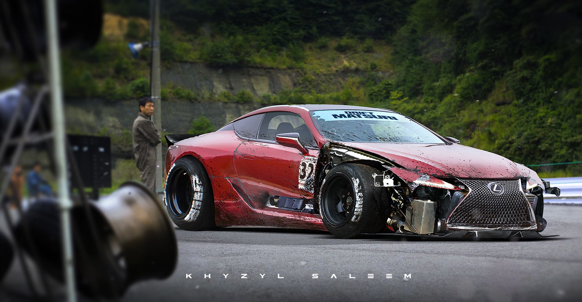 lexus lc 500 drift car rendering follows the story of the real lfa