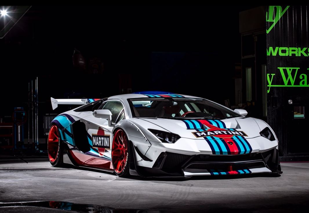 Liberty Walk Aventador With Martini Livery And Widebody Bmw I8