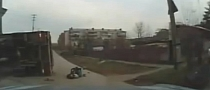 Light Truck Does Not Yield in Russia - Ends Up Toppling Over [Video]
