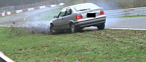 Lucky BMW E36 Compact Misses Nurburgring Guard Rail by a Hair [Video]