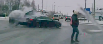 Lucky Pedestrian Narrowly Missed by Crashing Cars [Video]