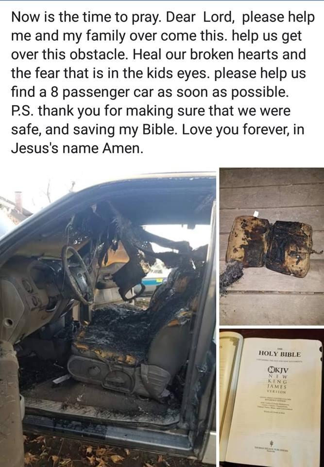 man u2019s truck burns to a crisp but bible left inside isn u2019t damaged