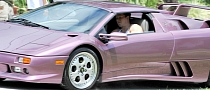 Mark Wahlber Drives a Purble Lamborghini Diablo