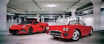 Matching-Red C1 and C8 Corvette Blend Restomod Cool With Mid-Engine Punch for $3