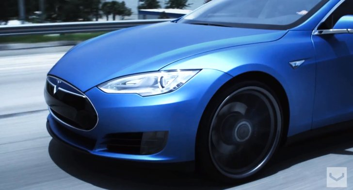 Matte Blue Tesla Model S on 22-Inch Vossen Wheel [Video]