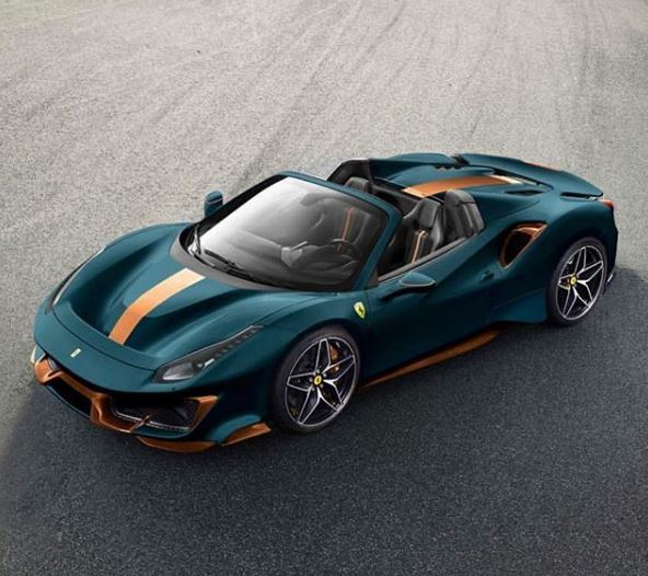 Matte Green Ferrari 488 Pista Spider With Orange Details