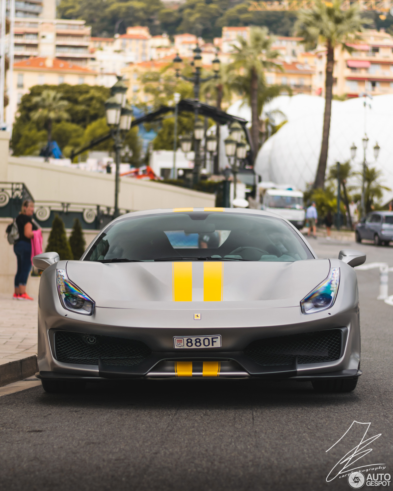 Matte Grey Ferrari 488 Pista With Yellow Stripes Is Not A
