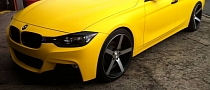 Matte Yellow BMW 3 Series on Vossen Wheels