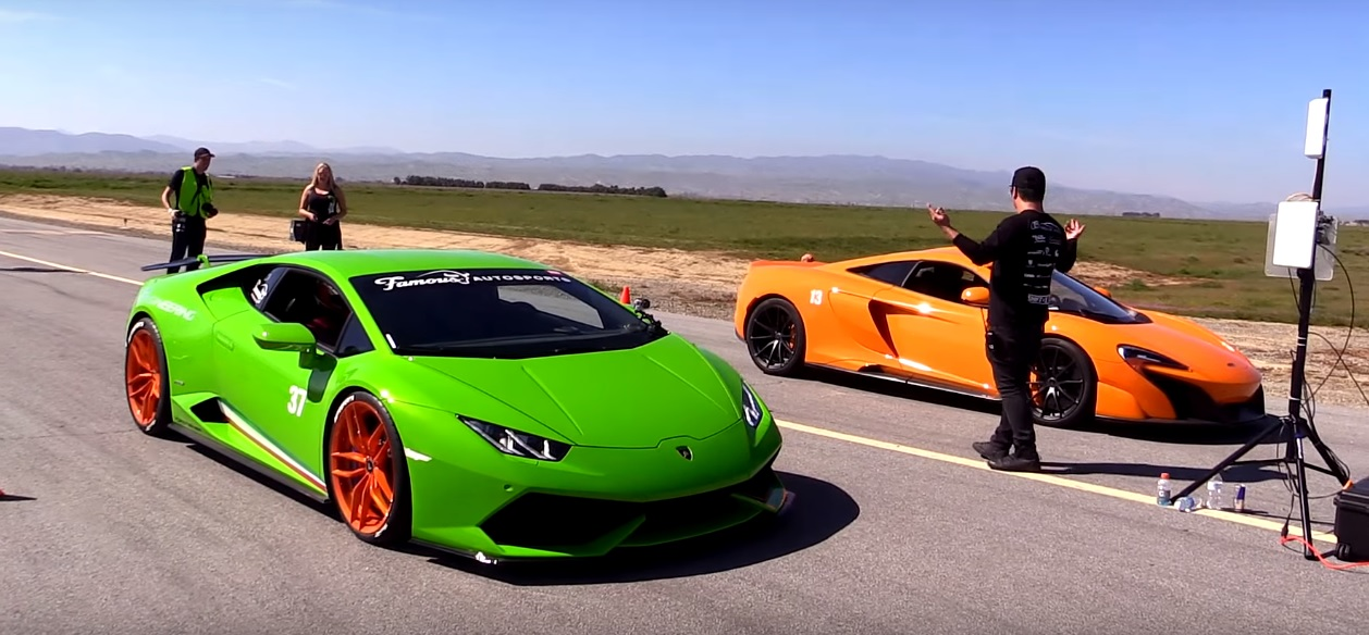 McLaren 675LT Drag Races VF Engineering Supercharged Lamborghini Huracan