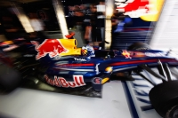 Mark Webber getting out of the Red Bull garage