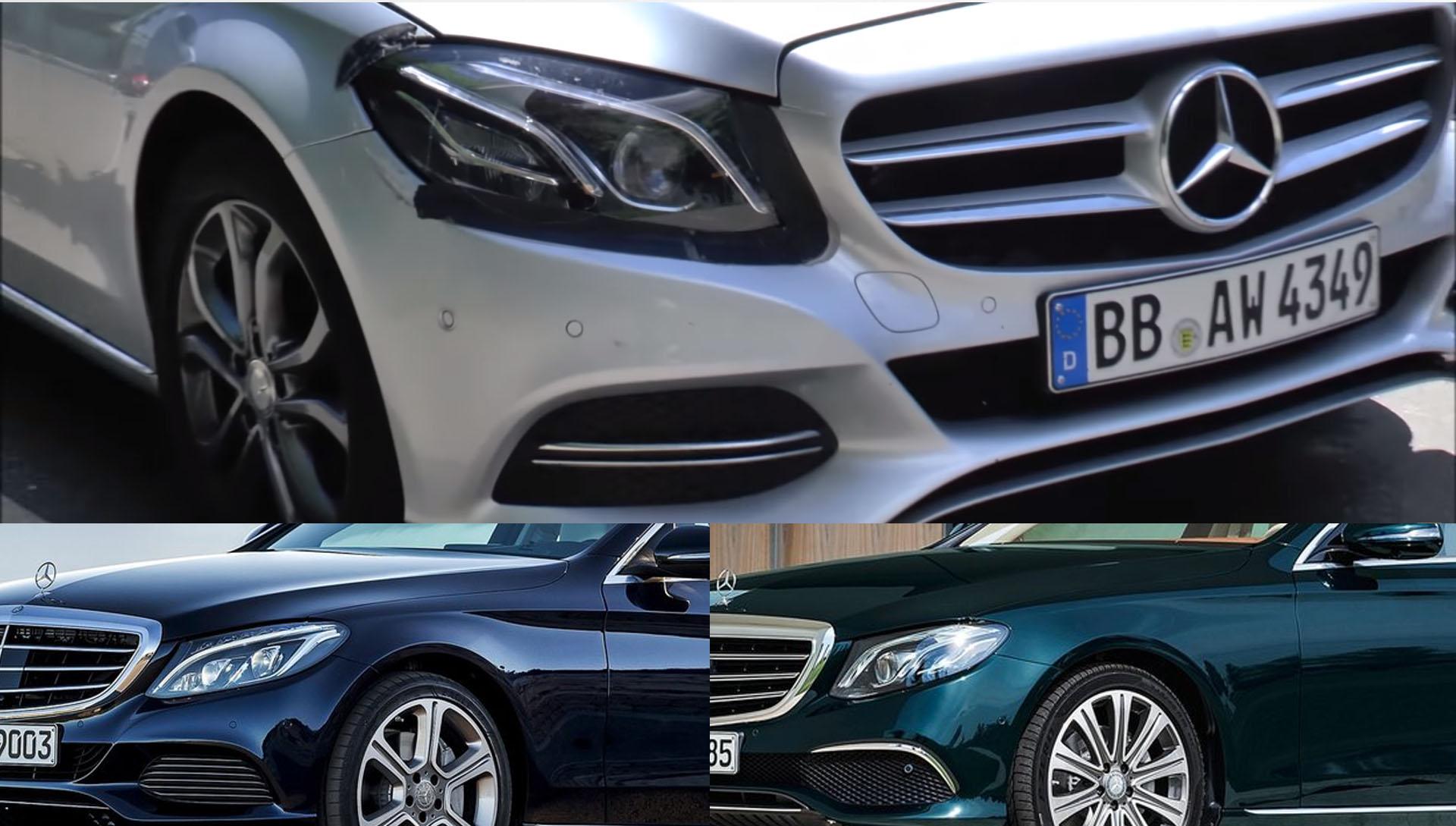 Mercedes benz c class caught testing with e class for Mercedes benz headlights