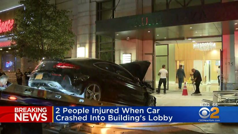 Vehicle  crashes through lobby at Trump Plaza in Westchester, New York