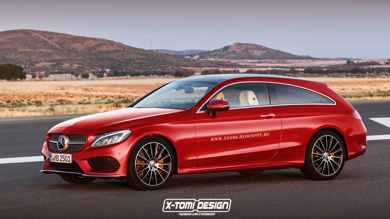 mercedes benz c class coupe becomes shooting brake in rendering production unlikely autoevolution. Black Bedroom Furniture Sets. Home Design Ideas