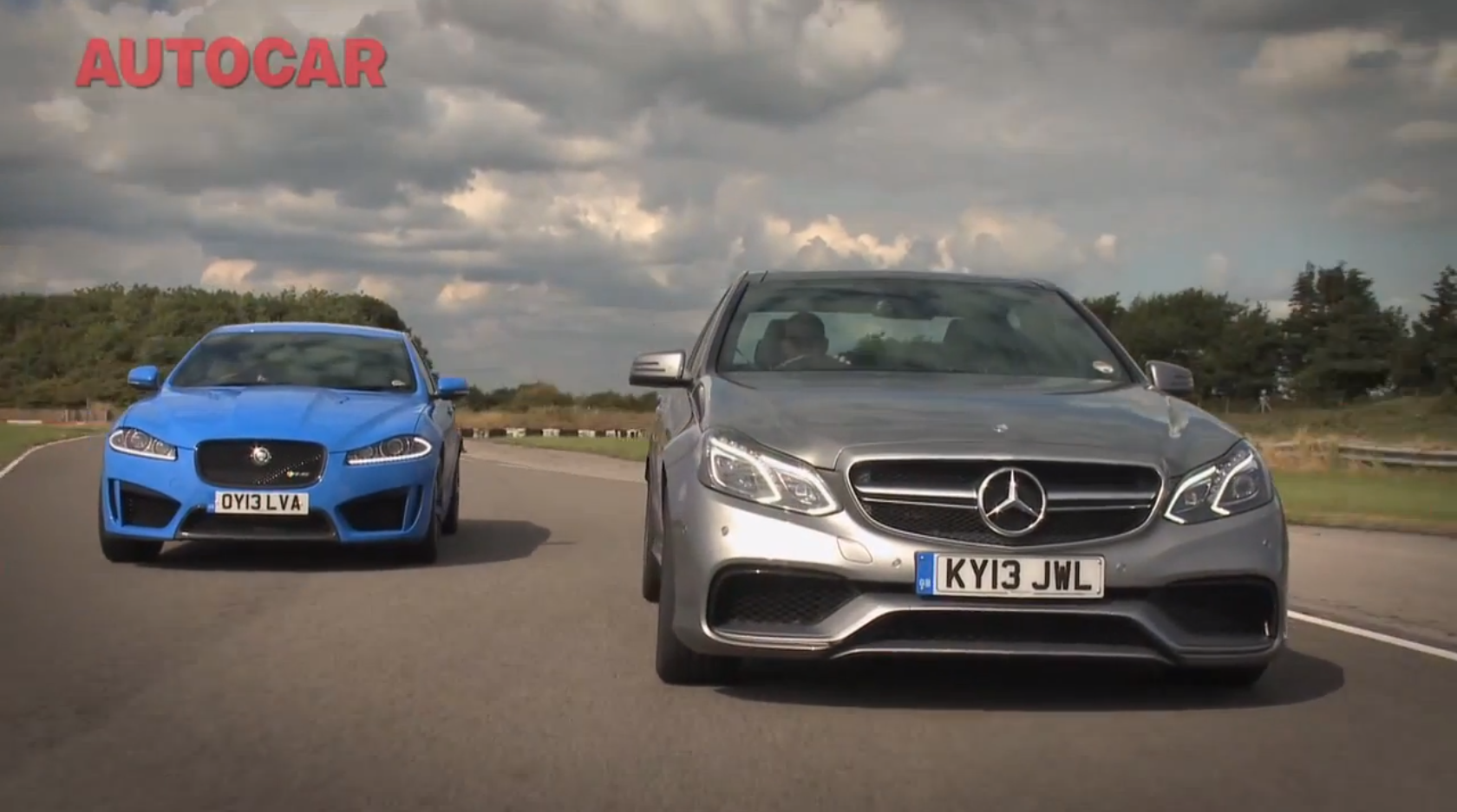 mercedes benz e 63 amg vs jaguar xfr s by autocar