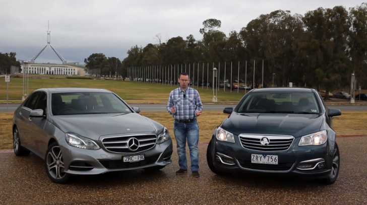 Mercedes-Benz E200 versus Holden VF Calais by Motoring Australia [Video]