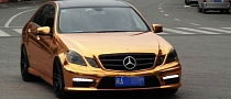 Mercedes-Benz E63 AMG Gets Gold Wrap in China