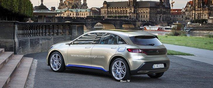 Mercedes benz eq hatchback rendering looks like an apt for Mercedes benz hatchback models