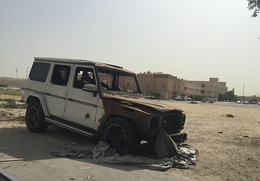 Mercedes benz g63 amg burns down in saudi arabia carcass for Mercedes benz saudi arabia