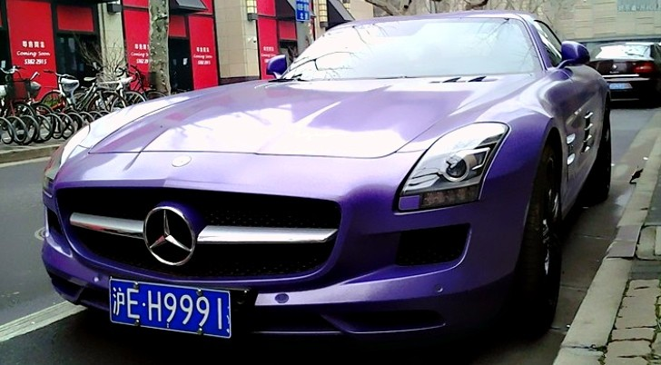 Mercedes-Benz SLS Gets Purple Finish in China