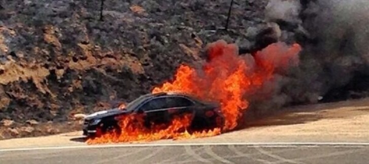 Mercedes C63 AMG Starts Fire with Its Brakes, Burns To a Crisp [Video]