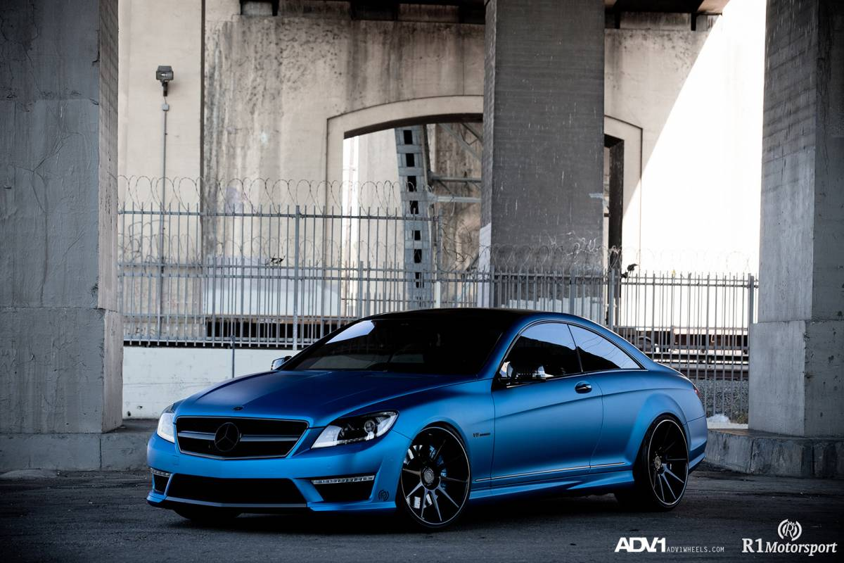 Mercedes cl63 amg gets matte blue wrap and adv 1 wheels for Matte mercedes benz