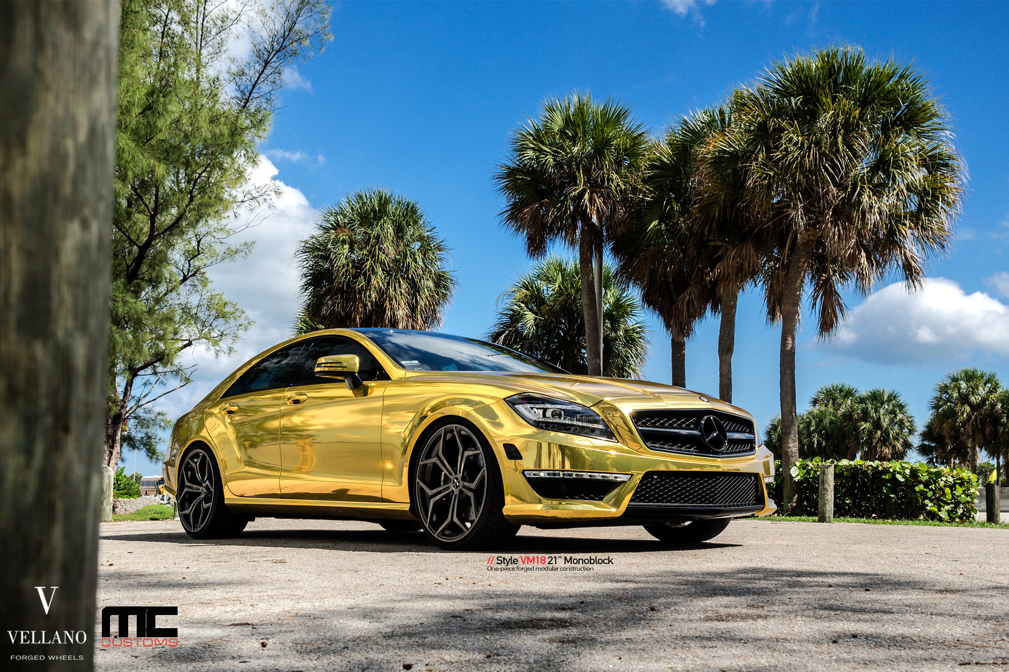 Mercedes Cls 63 Amg Makes Gold Wrap And Vellano Wheels Cool Autoevolution