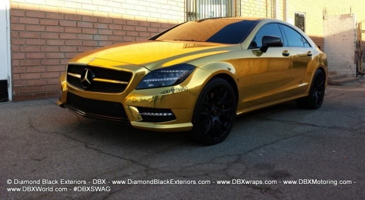 Mercedes CLS Gets Gold Chrome Wrap [Photo Gallery]