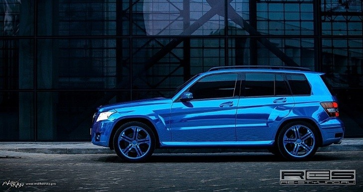 Mercedes GLK Wrapped in Blue Chrome [Photo Gallery]