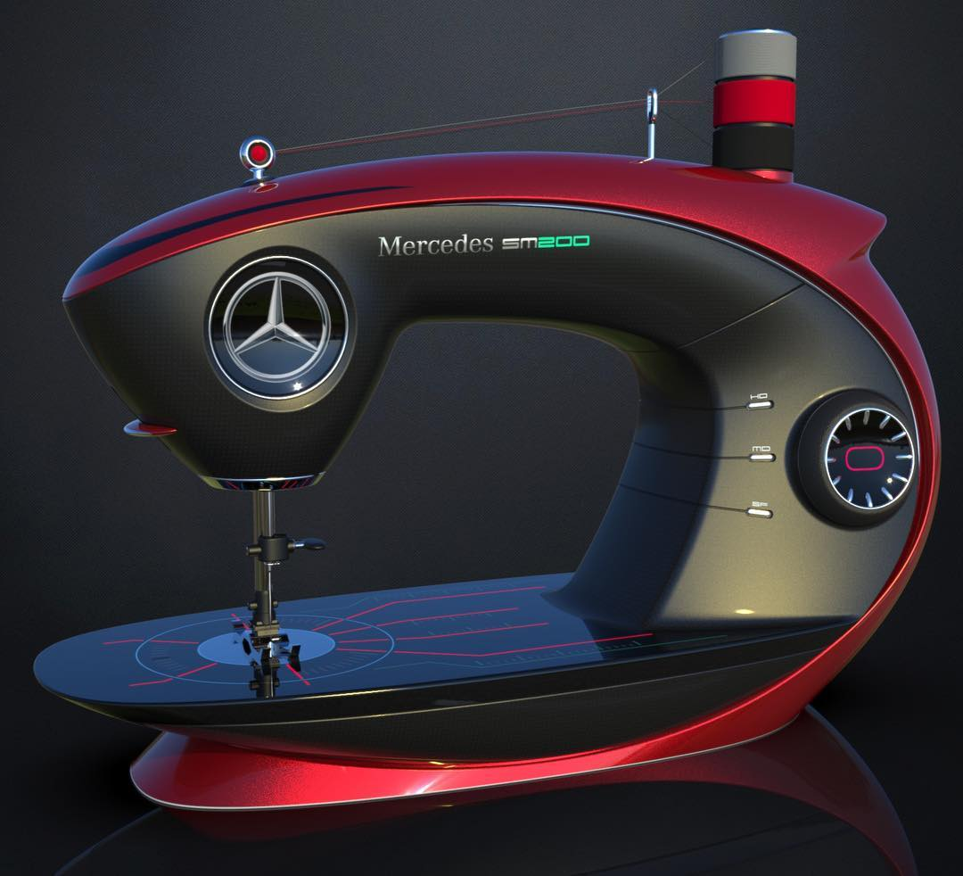 mercedes sewing machine is a modern version of something. Black Bedroom Furniture Sets. Home Design Ideas