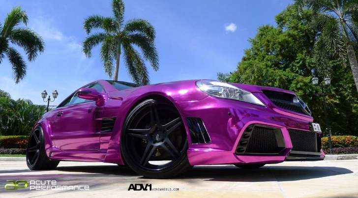 Mercedes SL65 AMG Gets Chrome Purple Wrap and ADV.1 Wheels [Photo Gallery]