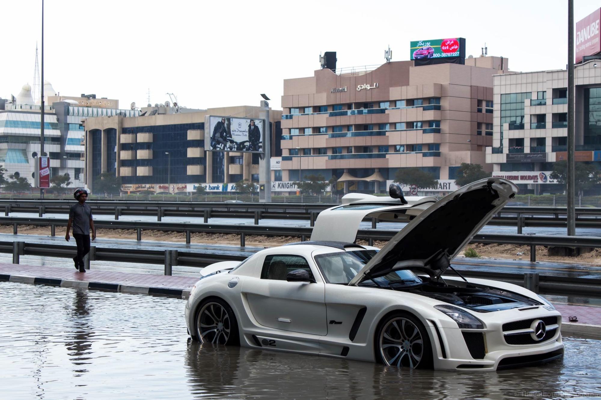 Mercedes Sls Amg Drowns In Puddle Rain In Dubai