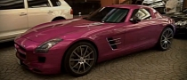 Mercedes SLS AMG Foil Wrapped in Pink [Video]