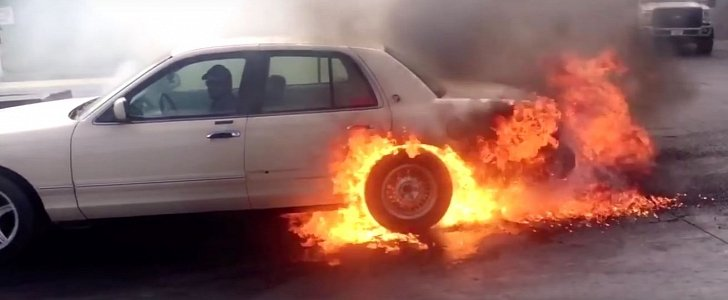 During A Car Crash The Car Catches On Fire