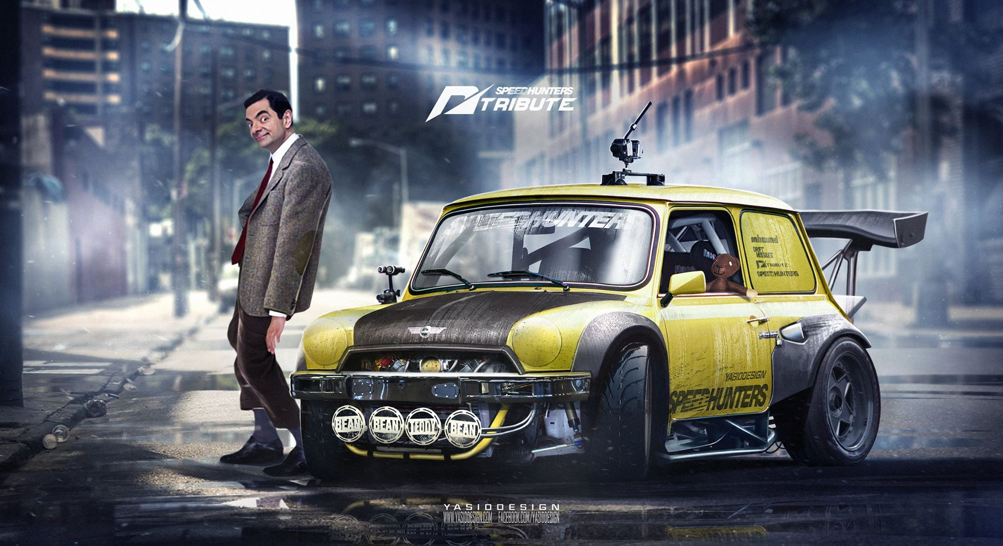 Mr Bean Mini Race Car NFS Theme Has Huge Spoiler - autoevolution