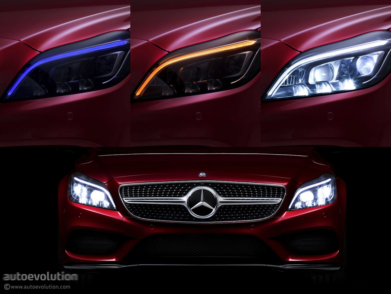 Multibeam led lights on cls c218 facelift previewed for Mercedes benz lighting