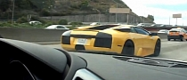 Murcielago and Audi R8 V10 Battle [Video]