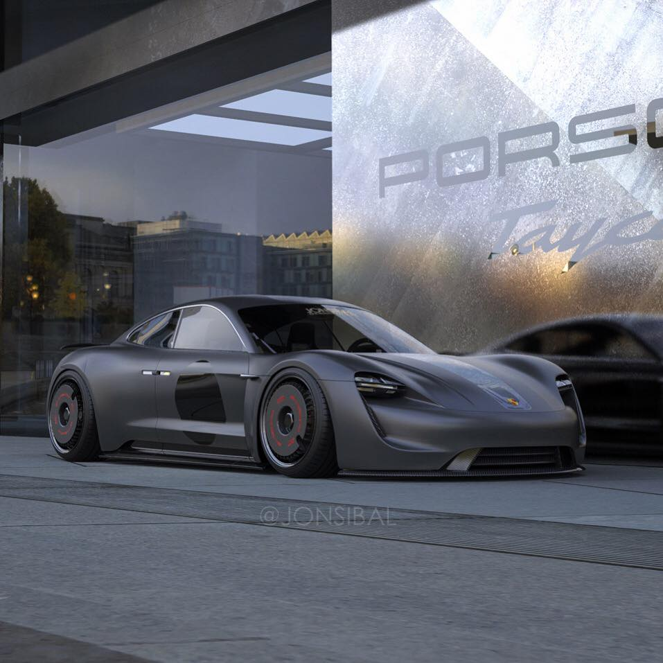 Murdered Out Porsche Taycan Rendered On Turbofan Wheels